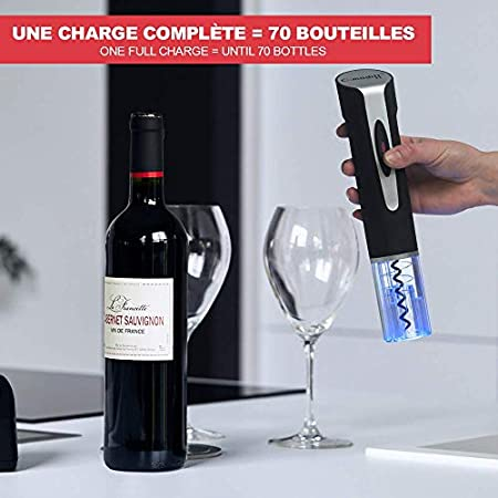 Sacacorchos eléctrico recargable - Climadiff - Apagado automático - Funcionamiento sin pilas - Para todos los tapones - Desbloquee sus botellas de vino sin esfuerzo!