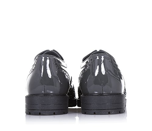 ALBERTO GUARDIANI - Grauer Halbschuh mit Schnürsenkeln, aus Lackleder und Glitzern, mit technischen und dynamischen Details, die sich natürlich mischen, Mädchen, Damen