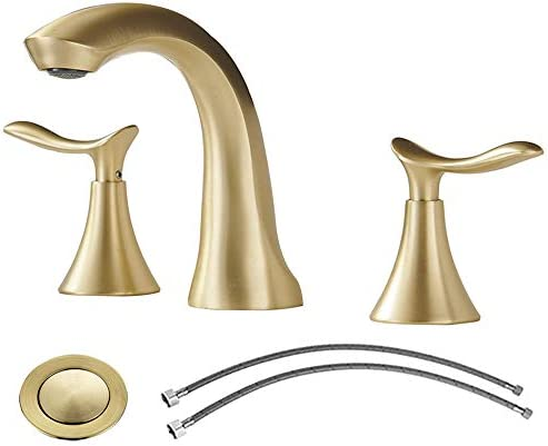 Comllen 2 Handle 3 Hole Brushed Gold 8 Inch Lavatory Widespread Bathroom Faucet, Best Commercial Bathroom Sink Faucet With Pop Up Drain