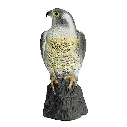 Pond Predator Control - SODIAL Large Falcon Decoy Bird Deterrant,Lifelike Full Bodied Bird Of Prey Pest Control Garden Statue Cat And Bird Repeller Garden Pond Decoration
