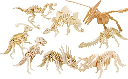 Kit Skeleton Wooden - Popculta 8-set 3D dinosaur jigsaw puzzle assembly model assorted (Pack of 8)