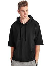 Men's Short Sleeve Active Sportwear Hip Hop Sweatshirt Solid Fashion Hoodie T-Shirt