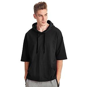 Zengjo Men's Short Sleeve Active Sportwear Hip Hop Sweatshirt Solid Fashion Hoodie T-Shirt