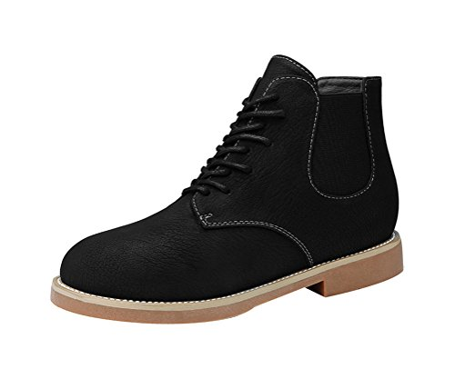 Passionow Women's Retro Warm Fur Lined Lace-up Round Toe PU Vamp High Top Ankle Booties