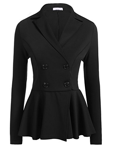 Women Long Sleeve Slim Suit Jacket Coat Black - 5