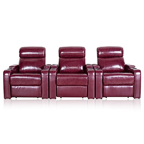 Mebon Furniture Home Theater Seating Manual Recline Leather Gel (Row of 3, Red) (3 Match Leather Recliner Theater)