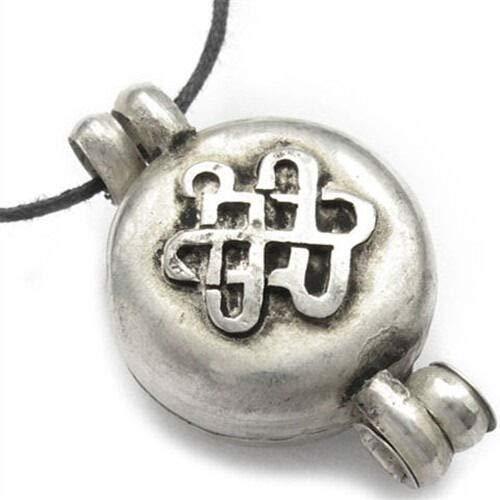- to do White Copper Carved Luck Eternal Knot Mantra OM Ghau Prayer Box Pendant #ID-149