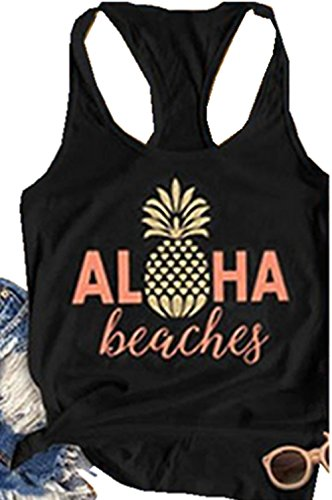 NATAY Women's Summer Aloha Beaches Tank Tops Sleeveless Pineapple Print Racerback Tees (Black, Medium)