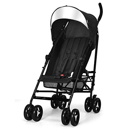 INFANS Lightweight Baby Umbrella Stroller, Foldable Infant Travel Stroller with Carry Belt, 4 Position Recline, Adjustable Backrest, UV Protection Canopy, Cup Holder, Storage Basket (Dark Black)
