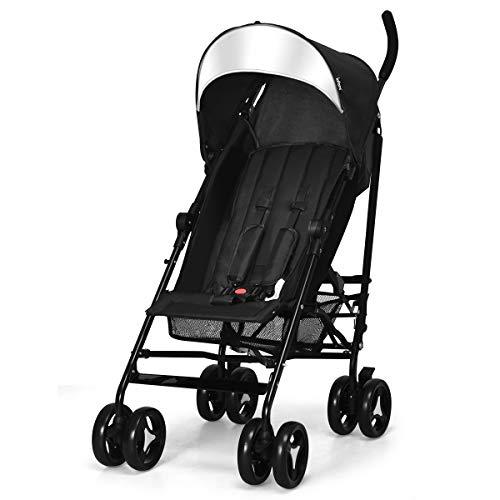 INFANS Lightweight Baby Umbrella Stroller, Foldable Infant Travel Stroller with Carry Belt, 4 Position Recline, Adjustable Backrest, UV Protection Canopy, Cup Holder, Storage Basket (Dark Black) (Best Lightweight Umbrella Stroller For Travel)