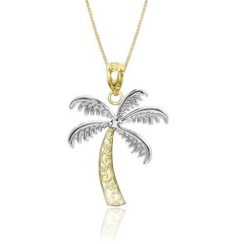 Honolulu Jewelry Company 14K Yellow Gold and Diamond Palm Tree Necklace Pendant with 18