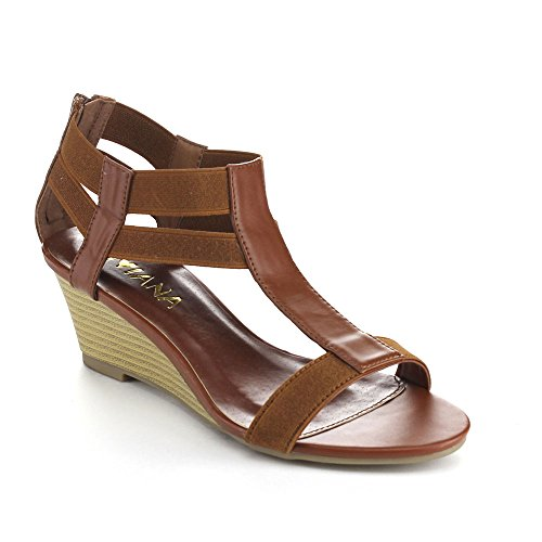 DIVIANA NICKI-19 Women's Elastic T-strap Back Zip Wedge Sandals,BROWN,8.5