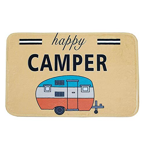 Ownest Happy Camper Camping Door Mat,Entrance Outdoor/Indoor Floor Doormat Door Non Slip Mats Bathroom Kitchen Decor Rug 40cmx60cm (Door For Mat Camper)