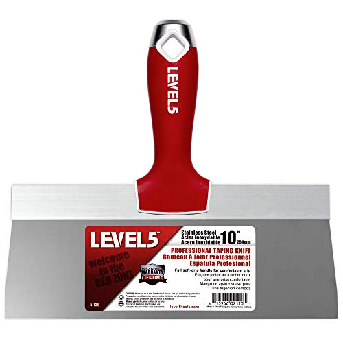 Pro Grade 10-inch Soft-Grip Professional Stainless Steel Taping Knife | Level 5 Tools