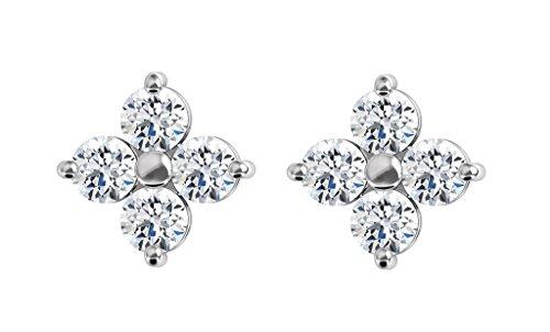 Boucles d'oreilles multi-pierre avec diamants Rond Or blanc-585/1000( 2.17 Ct, F Couleur, VS2 Clarté)