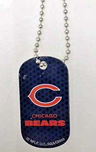 Mirror Mania Chicago Bears NFL Football Dog Tag Chain Personalized Free Engraved Custom Name On Back - a Chain, Keychain, Luggage tag, or Clip on Backpack or ()