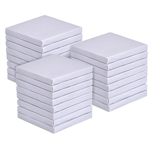 Outus 3 by 3 Inch Mini Canvas Panels for Painting Craft Drawing, 24 Pack