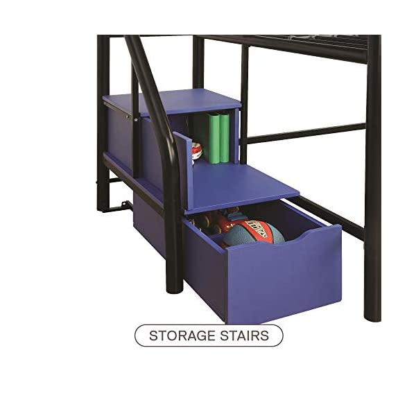 DHP Junior Twin Metal Loft Bed with Storage Steps, Space-Saving Solution, Multifunctional, Black with Blue Steps 5
