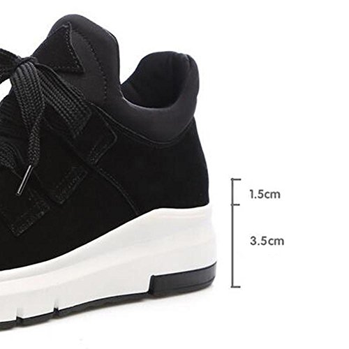 BLACK Leather Frosted Sneakers Shoes Woman's Shoes 38 Casual NSXZ Increased 6zqaxZEw
