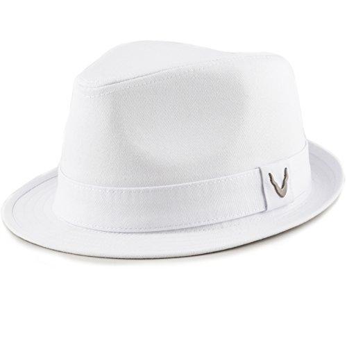 THE HAT DEPOT Black Horn Unisex Cotton Wool Blend Herringbone Trilby Fedora Hats (Medium, Cotton- (White Hat With Black Band)