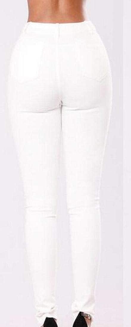 KLJR Women Embroidery Slim Fit Stretch High Waist Denim Pants