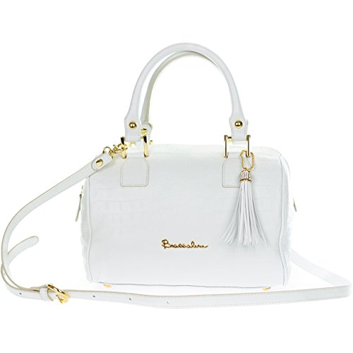 Braccialini Italian Made White Crocodile Embossed Leather Small Tote (Braccialini Women Handbags)