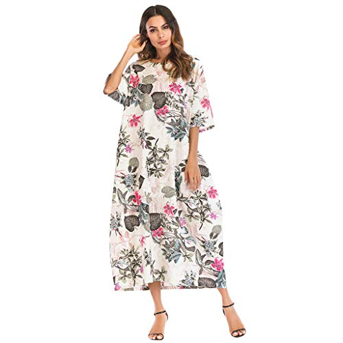 TOOPOOT Plus Size Dress for Women, Cotton Linen Printed Dress O-Neck Half Sleeve Long Dress ()