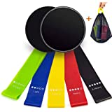 Resistance Bands &Exercise Sliders, UJoylify Exercise Bands for Women - Resistance Loop Bands for Legs and Butt - Workout Bands Gliding Discs Core Sliders for Home Gym Fitness with A Carry Bag