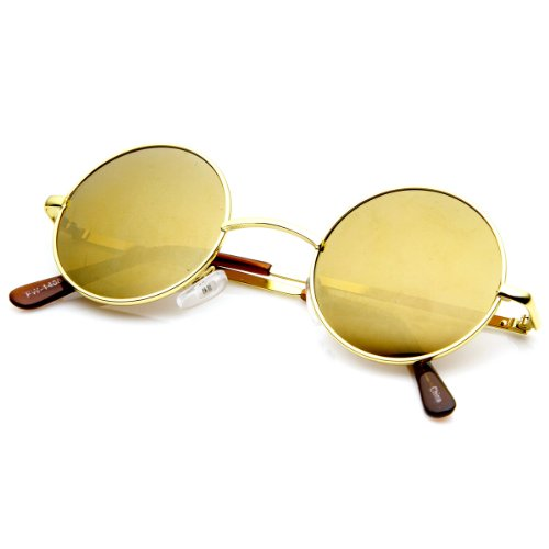 zeroUV - Lennon Style Small Round Color Mirrored Lens Circle Sunglasses (Gold Brown) (Style Lennon)