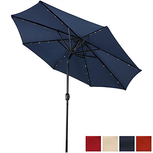 Sunnydaze Solar Powered LED Lighted Patio Umbrella with Tilt & Crank, 9 Foot, Navy Blue