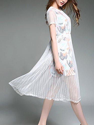 y redondo collar Mujer paño corta Prom Vestidos la Blanco vestido Mena larga zambullida fiesta malla encaje manga De noche UK por moda de floral 6w4qXZ