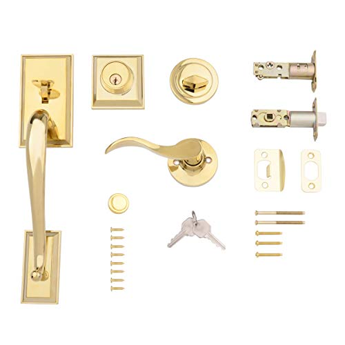 - AmazonBasics Modern Door Handle and Deadbolt Lock Set, Right-Hand Wave Door Lever, Polished Brass