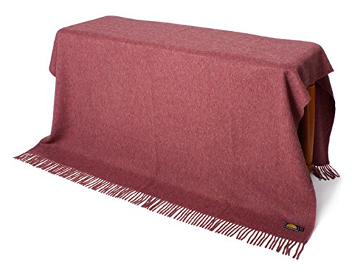NOT A COUNTERFEIT - AUTHENTIC ALPACA Throw Blanket - COZINESS Guaranteed by the Best Natural THERMAL MANAGEMENT: Never Too Warm or Cold, ALWAYS CUDDLY! - Premium Quality (Heather Red - One color) (Best Natural Fiber Blanket)