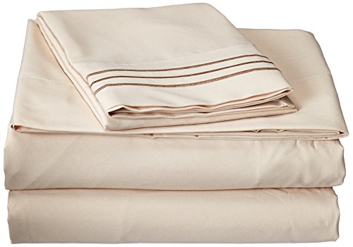 Elegant Comfort® 1500 Thread Count Egyptian Quality 3pc Bed Sheet Sets, Deep Pockets - ALL SIZES AVAILABLE , Twin/Twin XL, Beige
