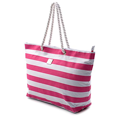Large Canvas Beach Bag - Top Zipper Closure - Waterproof Lining - Perfect Tote Bag for Holidays (Pink) -