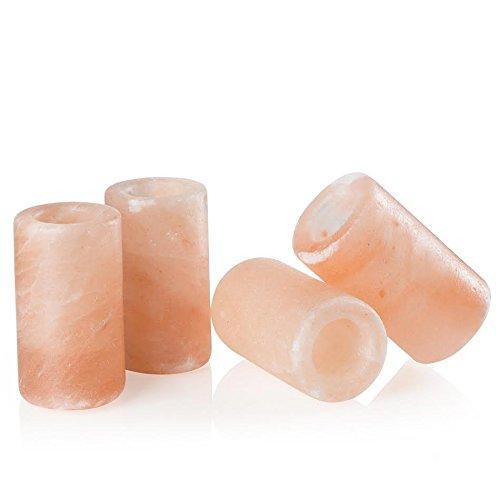 UmAid Pink Himalayan Salt Tequila Shot Glasses (Set of 4) Unique Barware 1.25 - 1.5 Ounces, Drinking Glass, Hand Carved Shooters Pure Himalayan Salt, Kosher FDA Certified Food Grade Salt