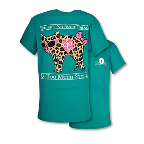 (Southern Couture SC Classic Leopard Pig Womens Classic Fit T-Shirt - Jade Dome,)
