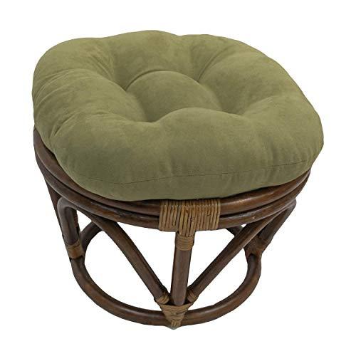 International Caravan Bali Papasan Footstool with Microsuede Cushion Sage