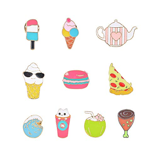 - Souarts 10PCS Cute Enamel Brooch Pin-Womens Girls Planet Shaped Badge for Clothes Bags Backpacks Lapel Pin