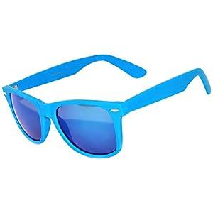 1 Pair Mirrored Reflective Blue Lens Sunglasses Blue Matte Frame Horn Rimmed Style