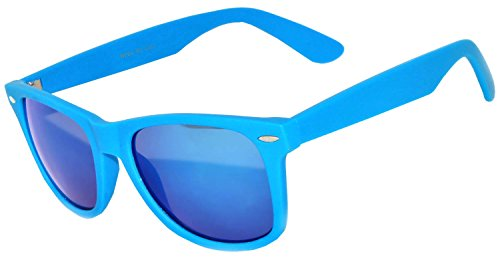 1 Pair Mirrored Reflective Blue Lens Sunglasses Blue Matte Frame Horn Rimmed Style (Blue Sun Glasses)