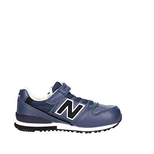 NEW BALANCE - Zapatilla deportiva azul marino, en cuero, con velcro, cordones elásticos, logo lateral y posterior, Niño, Niños Blanco-Negro-Azul marino