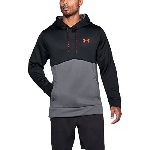 (Under Armour Men's Armour Fleece Icon Solid Hoodie, Black (003)/Neon Coral, Small)