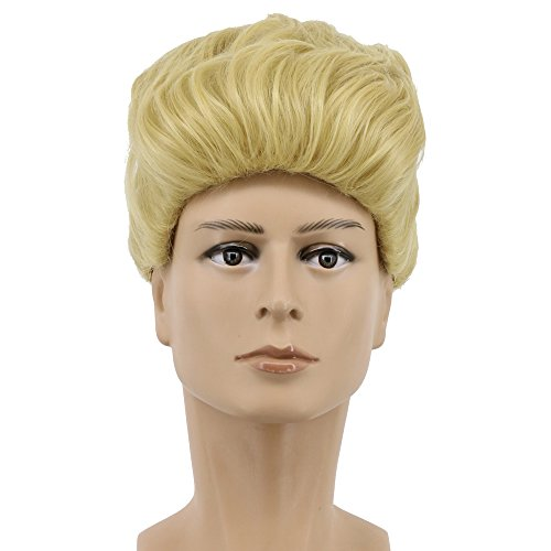 Yuehong Short Curly Blonde Mens Wig Anime Cosplay Wig Halloween Costume Synthetic -