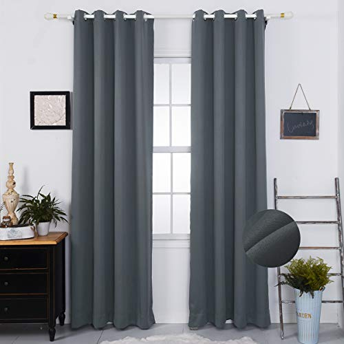- Nauxcen Blackout Curtains 63 Length, Grey Blackout Curtains for Bedroom/Living Room/Women, Grommet Thermal Insulated Curtains/Drapes(2 Panels,50 x 63 Inch)