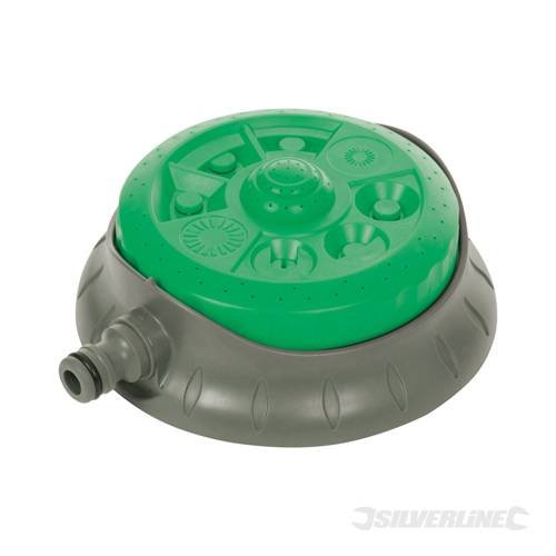Gardening Watering 8 Pattern Dial Sprinkler 140mm dia Dial selector head. 8 spray patterns with 360° option. For precise irrigation whatever size or shape of lawn. Strong, durable construction. Fitted with 1/2