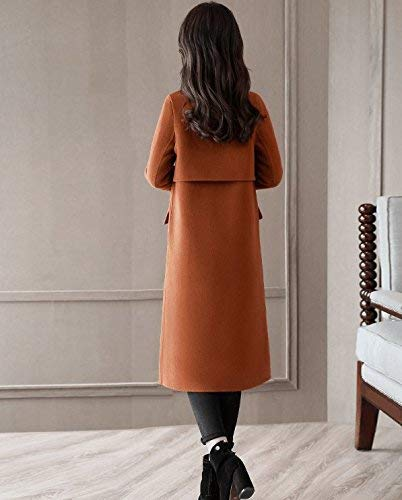 Manica Giubotto Confortevole Anteriori Button Moda Windbreaker Especial Bavero Parka Elegante Estilo Invernali Coat Donna Lunga Tasche Karamell qO6Xg6