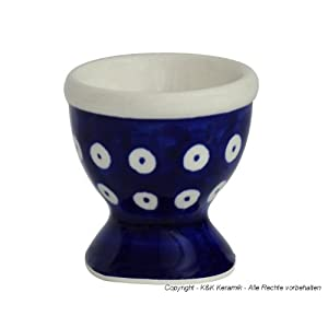 Boleslawiec Pottery Egg cup, Original Bunzlauer Keramik, Decor 42