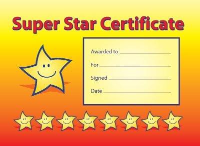 A5 Reward certificates: 'Super Star Certificate': pack of 20 ...