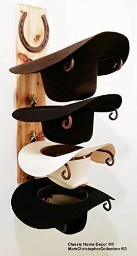 - American Made Cowboy Hat Holder Wood with Genuine Horseshoe Golden Cedar Finish